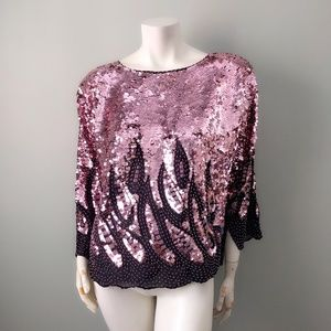Vintage Pink Sequin Handembroided Statement Top L